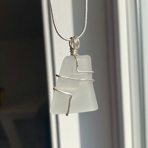 Silver wrapped authentic seaglass pendant & chain